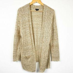 Torrid Open Front Long Knit Cardigan Beige Sweater